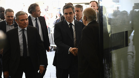 François Fillon arrive à son QG de campagne le 24 avril 2017, photo ©Martin BUREAU / AFP