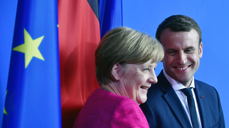 Angela Merkel et Emmanuel Macron lors de leur conférence de presse commune à Berlin le 15 mai 2017.