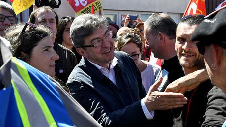 Jean-Luc Mélenchon sur le site de GM&S dans la Creuse le 16 mai 2017, photo ©GEORGES GOBET / AFP