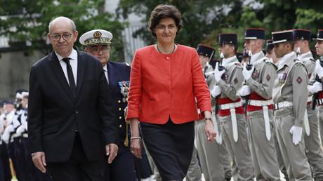Jean-Yves Le Drian, ministre de l'Europe et des Affaires étrangères, et Sylvie Goulard, ministre des Armées, à l'Elysée le 18 mai 2017.