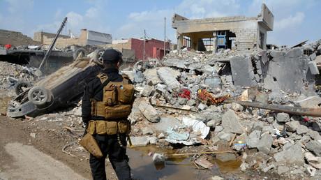 Une maison piégée détruite par une explosion après une frappe de la coalition à Mossoul (photographie d'illustration)