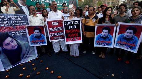 Photo d'archive, des manifestants pakistanais condamnant la mort d'un étudiant accusé de blasphème, avril 2017