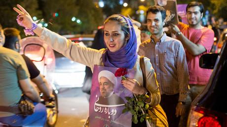 Les supporters du président iranien Hassan Rohani lors de la campagne présidentielle