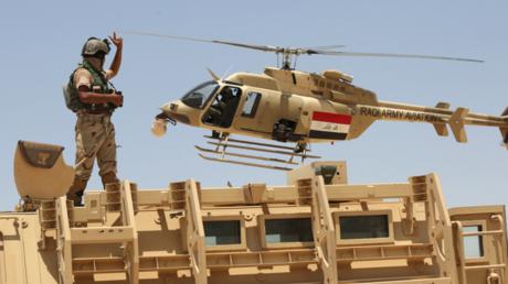 Image d'illustration : un hélicoptère de l'armée irakienne à Husaybah, dans la province d'Anbar (ouest)