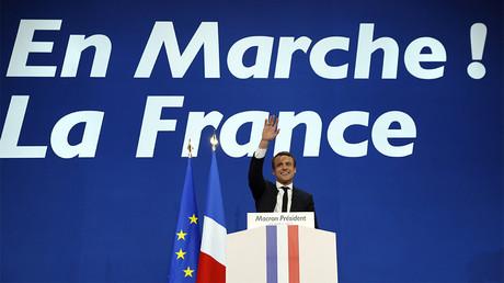 Emmanuel Macron au soir du premier tour de l'élection présidentielle, le 23 avril 2017, photo ©Patrick KOVARIK / AFP