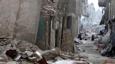 Une rue d'Alep dévastée en janvier 2017
