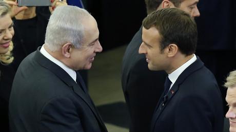 Benjamin Netanyahou et Emmanuel Macron le 1er juillet a Strasbourg, lors d'une cérémonie en hommage à Helmut Kohl