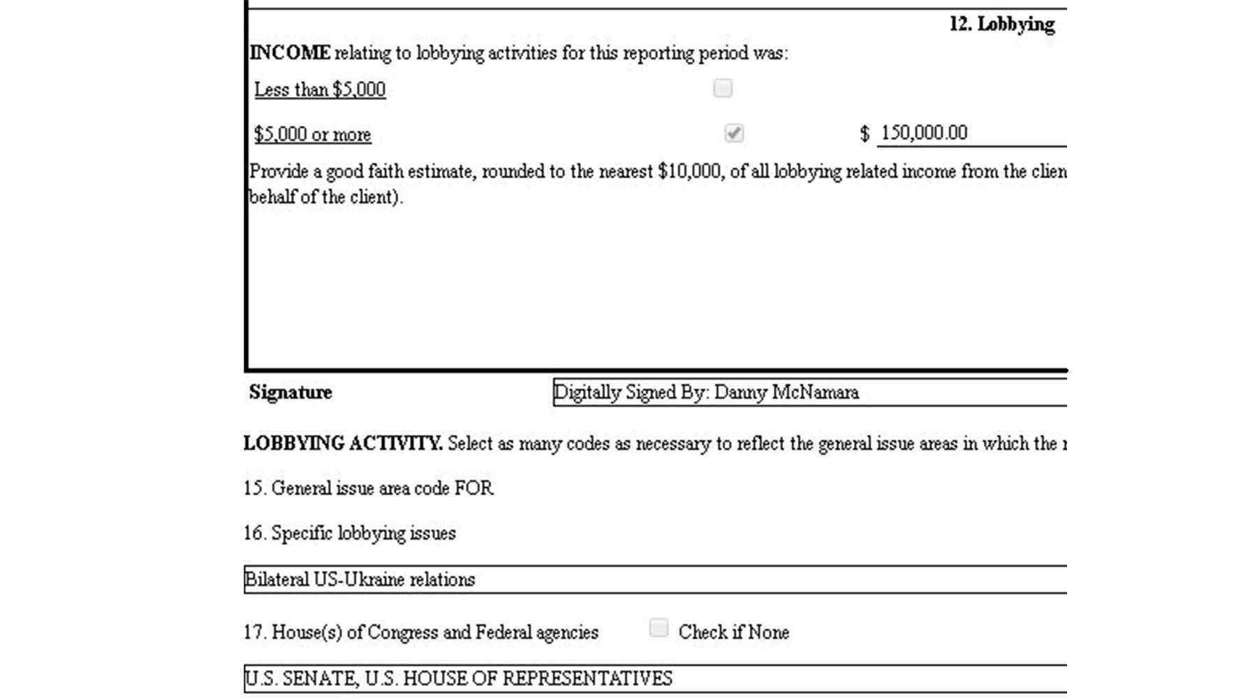 Kiev a dépensé 300 000 dollars pour du lobbying auprès du Congrès américain
