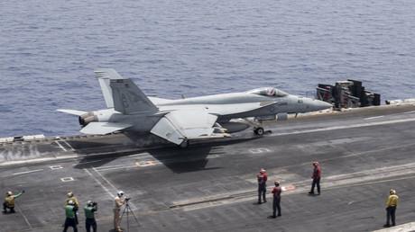 L'avion de chasse américain F/A-18E Super Hornet