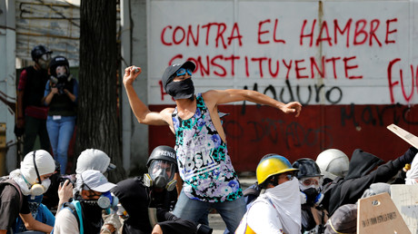 Une manifestation contre le gouvernement dégénère à Caracas le 28 juillet 2017.