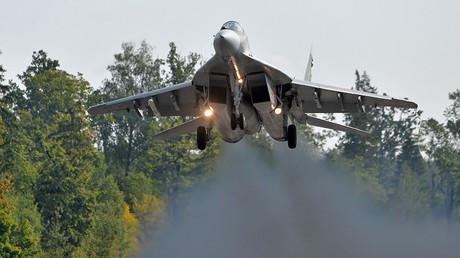 Un MiG-29 de l'armée de l'air biélorusse se prépare pour l'exercice «Zapad» conjoint avec la Russie, photo ©Viktor Tolochko / Sputnik