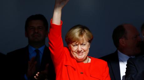 Angela Merkel lors d'un meeting dans la ville de Bitterfeld-Wolfen, dans l'est de l'Allemagne le 29 août 2017
