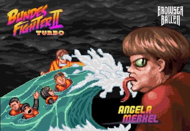 Dans un jeu vidéo parodique, Angela Merkel peut lancer l'attaque «vague de migrants» (IMAGES)