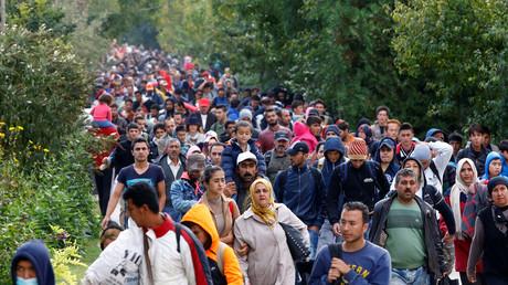 Des migrants à la frontières austro-hongroise en 2015