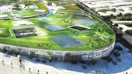 Vue aérienne du projet contesté Europa City dessiné par l'Agence BIG, devant s'installer sur une nouvelle ZAC, actuellement terres agricoles.
