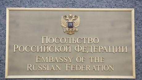 Plaque de l'ambassade de Russie à Washington.