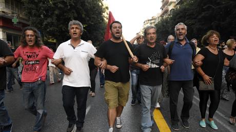 Grèce : plusieurs centaines de personnes manifestent contre les mesures d'austérité à Thessalonique