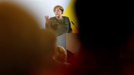 Angela Merkel pendant un discours à Strasbourg (Uckermark)