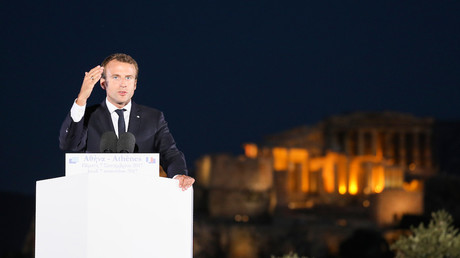 Emmanuel Macron en visite officielle à Athènes le 7 septembre 2017, photo ©LUDOVIC MARIN / AFP