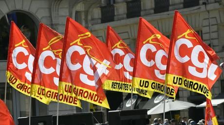 Drapeaux de la CGT lors d'une manifestation contre la loi travail en 2016