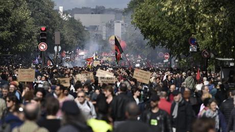 Manifestation contre la réforme du Code du Travail le 12 septembre 2017, photo ©PHILIPPE LOPEZ / AFP