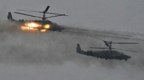 Des hélicoptères Ka-52 pendant les exercices Zapad-2017