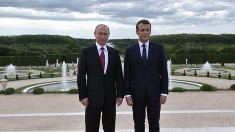 Vladimir Poutine et Emmanuel Macron pendant une rencontre à Versailles, le 29 mai 2017