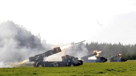 Vues aériennes des manœuvres militaires conjointes entre Moscou et Minsk