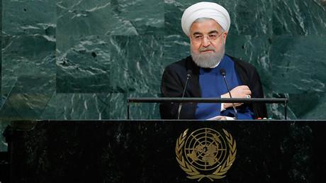 Hassan Rouhani pendant son discours à l'Assemblée générale de l'ONU