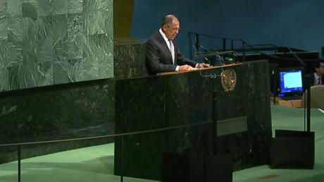 Sergueï Lavrov s'exprimant à l'assemblée générale de l'ONU.