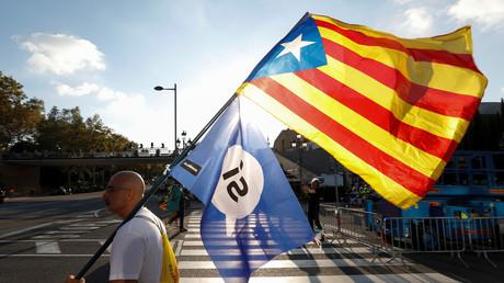 Un manifestant pour l'indépendance de la Catalogne le 29 septembre 2017.