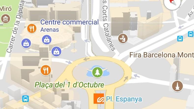 la place d 39 espagne barcelone devient la place du 1er octobre sur google maps rt en fran ais. Black Bedroom Furniture Sets. Home Design Ideas
