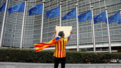 Un manifestant catalan devant la Commission européenne à Bruxelles, 2 Octobre 2017 (image d'illustration)