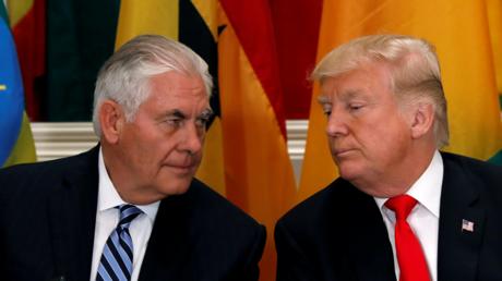 Le Secrétaire d'Etat américain Rex Tillerson avec le président américain Donald Trump