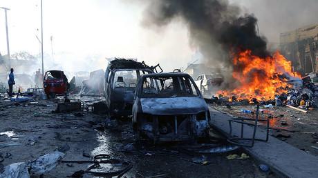 Photo prise après l'explosion survenue dans le district de Hodan le 14 octobre.