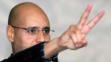 Saïf al-Islam Kadhafi en mars 2011 à Tripoli