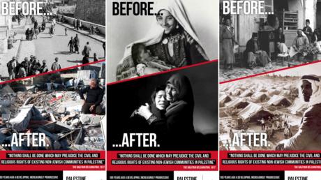 «Avant/Après» 1948 : des affiches sur le sort des Palestiniens bannies des transports londoniens