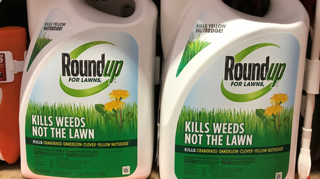 Illustration : bidons de Roundup, désherbant phare du géant des produits dits «phytosanitaires» Monsanto, photo ©Mike Blake/Reuters