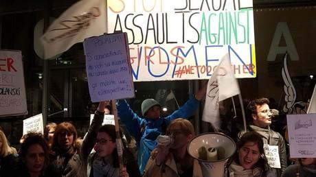 Manifestation contre la rétrospective consacrée à Roman Polanski à Paris, le 30 octobre 2017, photo ©RT France