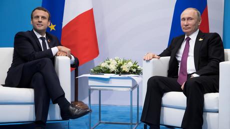 Emmanuel Macron et Vladimir Poutine au G20 de Hambourg, en 2017