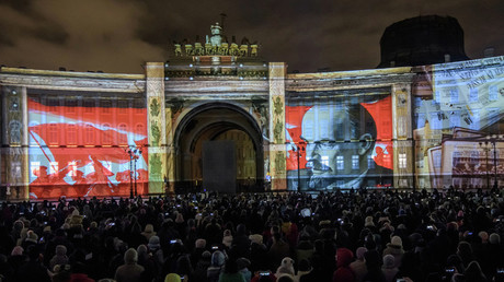 Projection multimédia 1917 dans le cadre du Festival des Lumières à Saint-Pétersbourg.