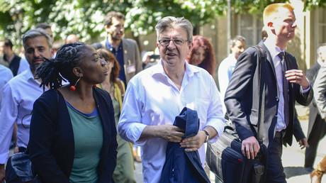 Alexis Corbière, Danièle Obono, Jean-Luc Mélenchon et Adrien Quatennens en juin 2017, photo ©Martin BUREAU / AFP