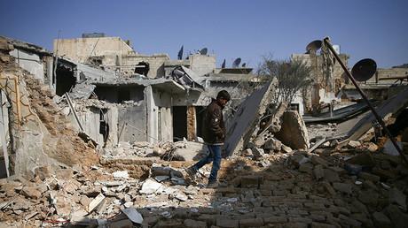 Des bâtiments ravagés par la guerre à Damas, en Syrie (image d'illustration).