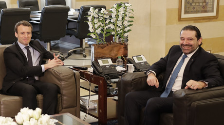 Le Premier ministre Saad Hariri et Emmanuel Macron avant la présidentielle française en janvier 2017 à Beyrouth.