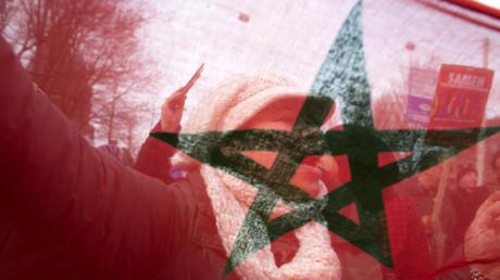 Un drapeau marocain lors d'une manifestation aux Pays-Bas en 2014, illustration