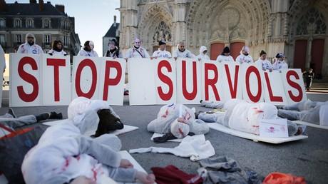 Les partisans de l'aéroport de Notre-Dame-des-Landes simulent le crash d'avion à Nantes (IMAGES)