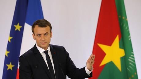 Emmanuel Macron en visite officielle au Burkina Faso lors de son discours à l'Universite de Ouagadougou, le 28 Novembre 2017