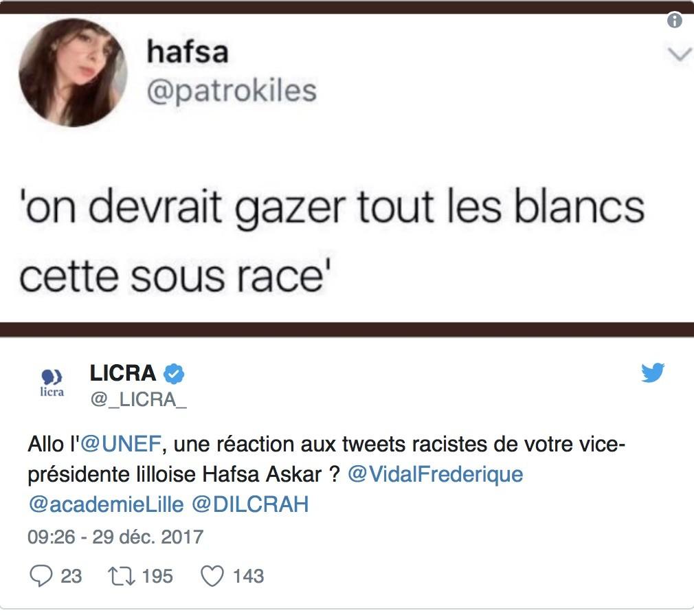 «Gazer les Blancs, cette sous-race» ? La Licra accuse une cadre de l'Unef de racisme sur Twitter