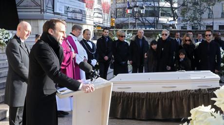 Emmanuel Macron lors de son discours en hommage à Johnny Hallyday