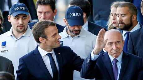 Emmanuel Macron et Gérard Collomb rencontrent la police à Lyon, en septembre 2017, illustration